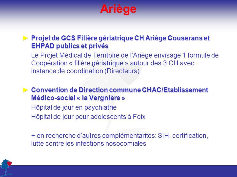 Ariège Projet de GCS Filière gériatrique CH Ariège Couserans et EHPAD publics et privésProjet de GCS Filière gériatrique CH Ariège Couserans et EHPAD
