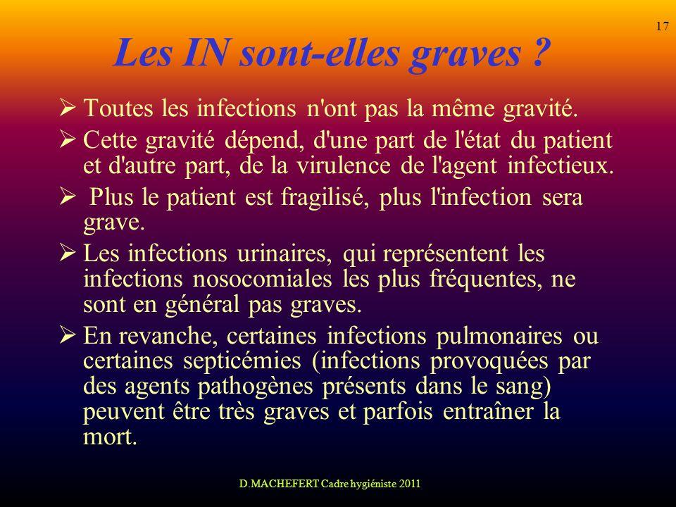 D.MACHEFERT Cadre hygiéniste 2011 17 Les IN sont-elles graves ? Toutes les infections n'ont pas la même gravité. Cette gravité dépend, d'une part de l