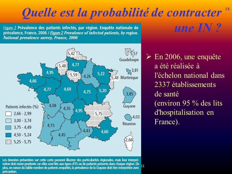 D.MACHEFERT Cadre hygiéniste 2011 18 Quelle est la probabilité de contracter une IN ? En 2006, une enquête a été réalisée à l'échelon national dans 23