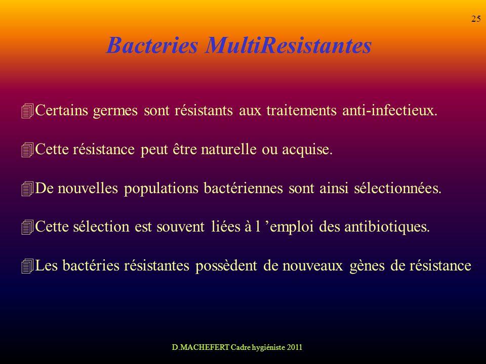 D.MACHEFERT Cadre hygiéniste 2011 25 Bacteries MultiResistantes 4Certains germes sont résistants aux traitements anti-infectieux. 4Cette résistance pe