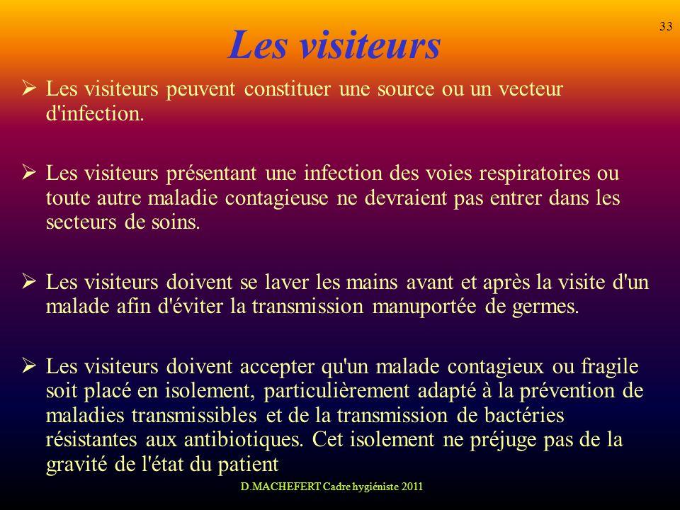 D.MACHEFERT Cadre hygiéniste 2011 33 Les visiteurs Les visiteurs peuvent constituer une source ou un vecteur d'infection. Les visiteurs présentant une