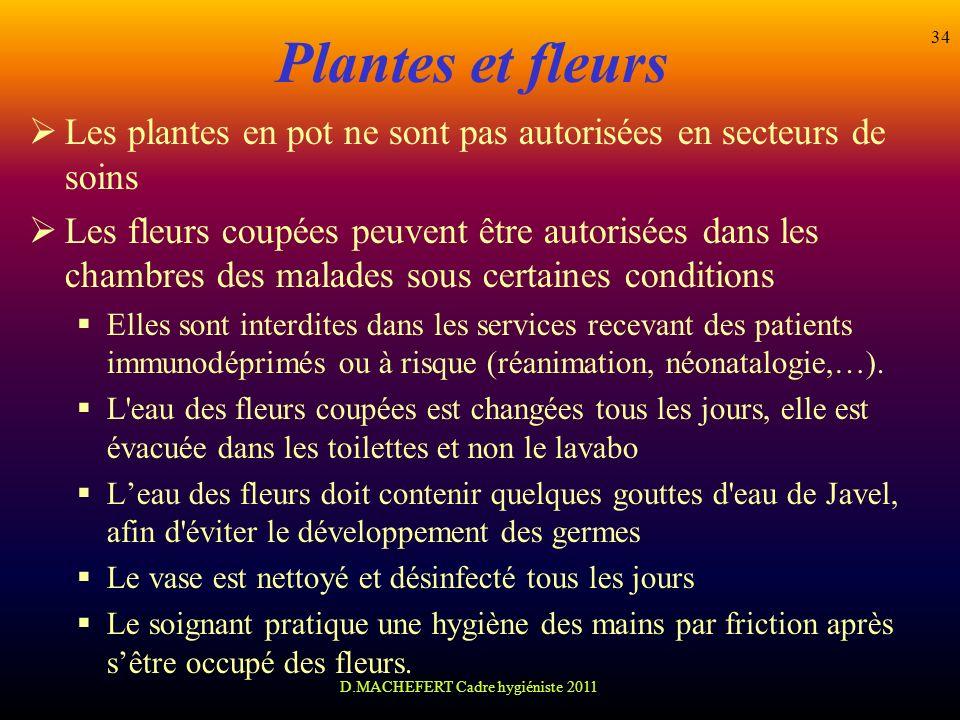 D.MACHEFERT Cadre hygiéniste 2011 34 Plantes et fleurs Les plantes en pot ne sont pas autorisées en secteurs de soins Les fleurs coupées peuvent être