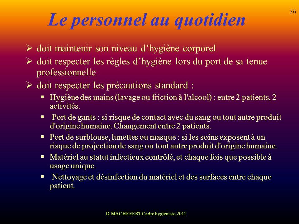 D.MACHEFERT Cadre hygiéniste 2011 36 Le personnel au quotidien doit maintenir son niveau dhygiène corporel doit respecter les règles dhygiène lors du