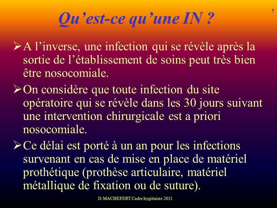 D.MACHEFERT Cadre hygiéniste 2011 5 Quest-ce quune IN ? A linverse, une infection qui se révèle après la sortie de létablissement de soins peut très b