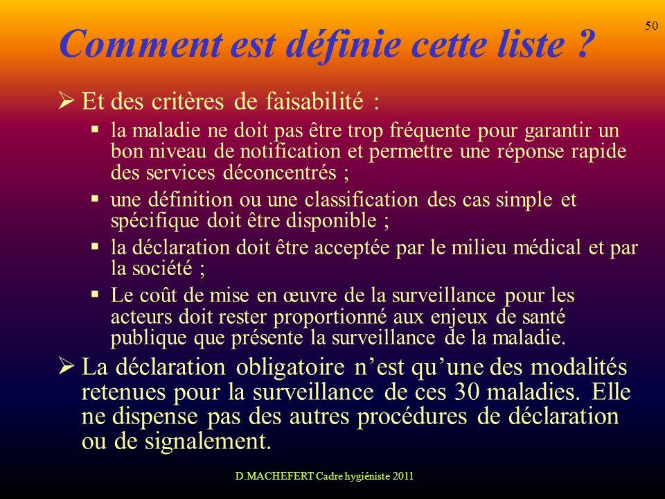 D.MACHEFERT Cadre hygiéniste 2011 50 Comment est définie cette liste ? Et des critères de faisabilité : la maladie ne doit pas être trop fréquente pou