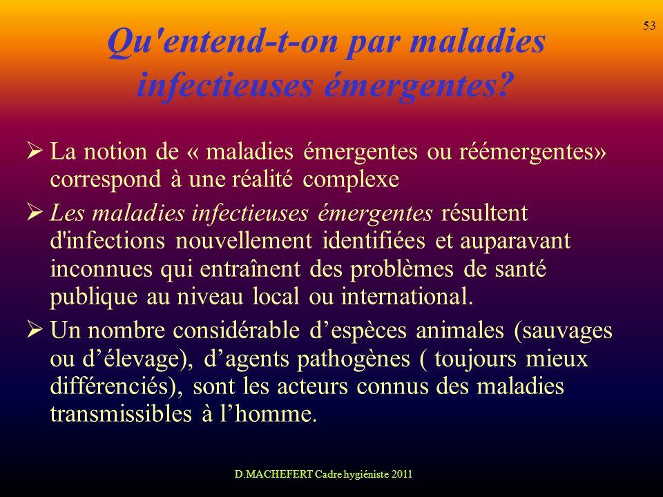 D.MACHEFERT Cadre hygiéniste 2011 53 Qu'entend-t-on par maladies infectieuses émergentes? La notion de « maladies émergentes ou réémergentes» correspo