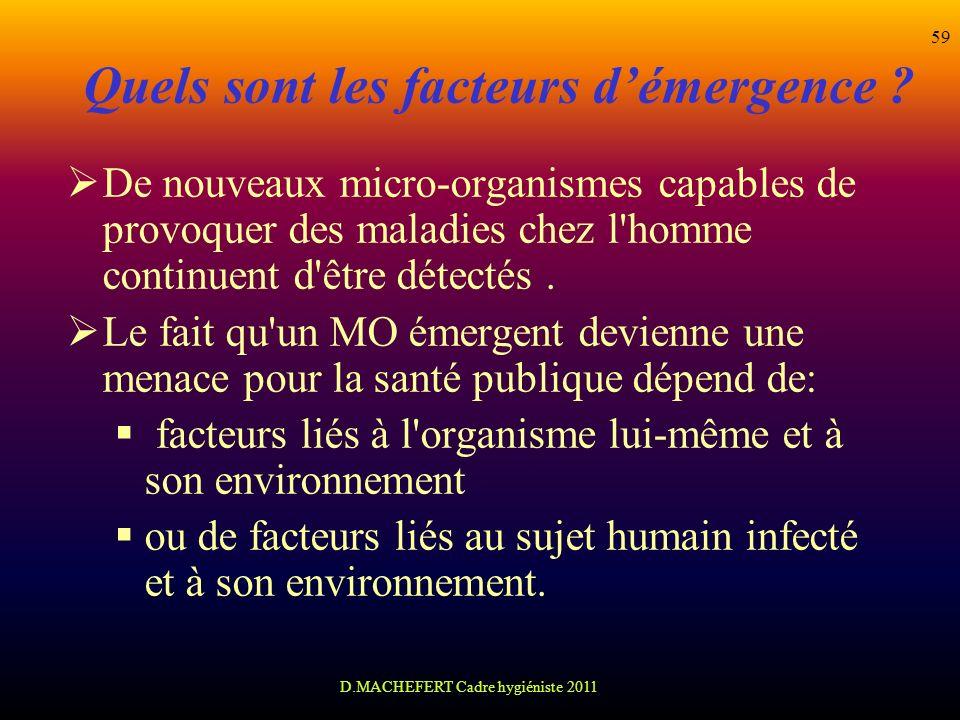 D.MACHEFERT Cadre hygiéniste 2011 59 Quels sont les facteurs démergence ? De nouveaux micro-organismes capables de provoquer des maladies chez l'homme