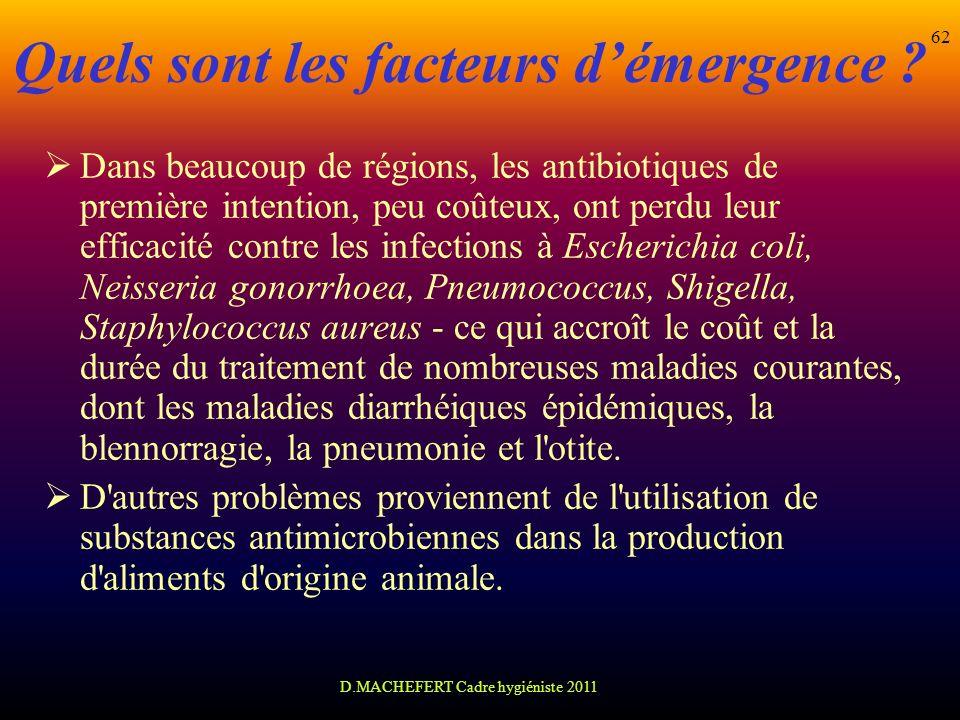 D.MACHEFERT Cadre hygiéniste 2011 62 Quels sont les facteurs démergence ? Dans beaucoup de régions, les antibiotiques de première intention, peu coûte