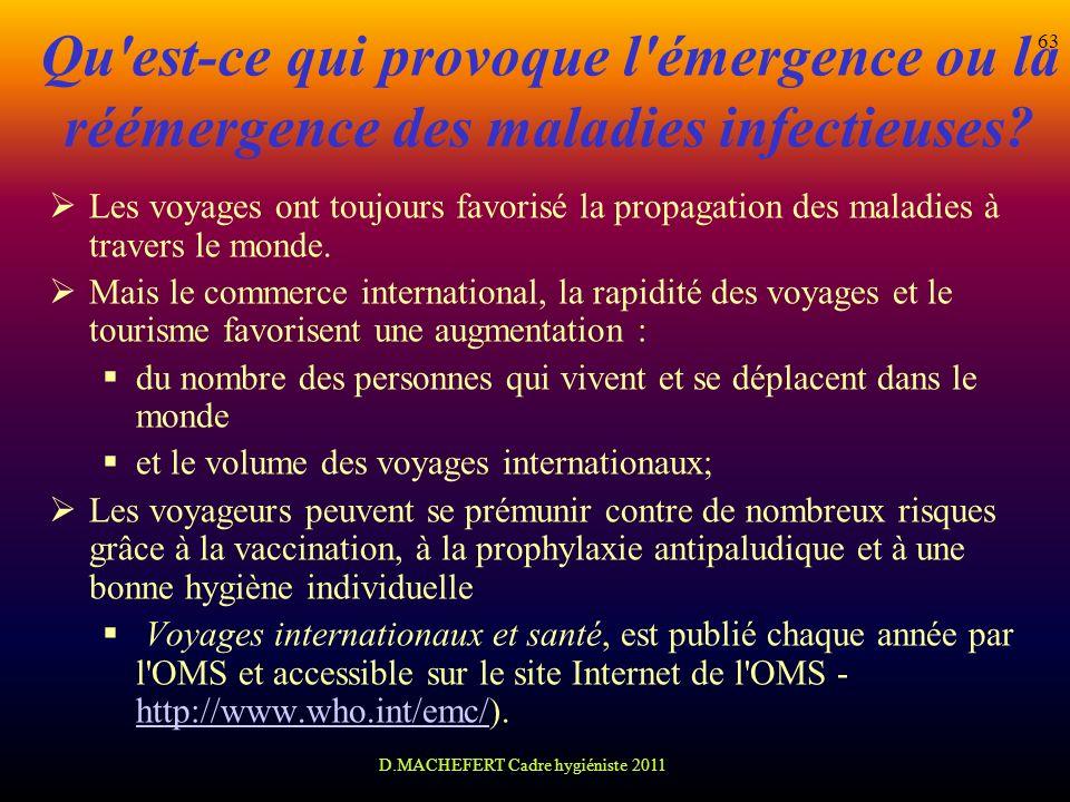 D.MACHEFERT Cadre hygiéniste 2011 63 Qu'est-ce qui provoque l'émergence ou la réémergence des maladies infectieuses? Les voyages ont toujours favorisé