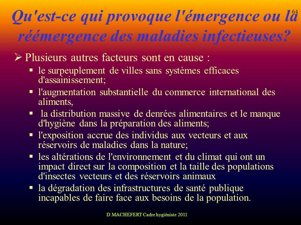 D.MACHEFERT Cadre hygiéniste 2011 64 Qu'est-ce qui provoque l'émergence ou la réémergence des maladies infectieuses? Plusieurs autres facteurs sont en