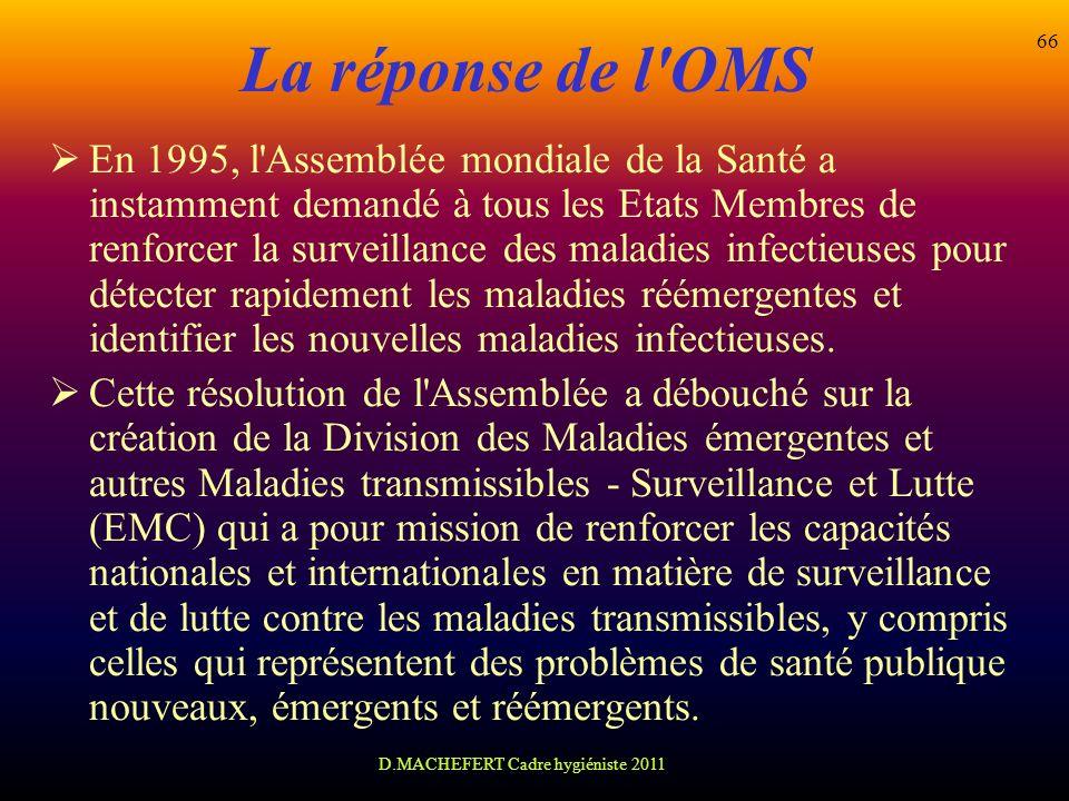 D.MACHEFERT Cadre hygiéniste 2011 66 La réponse de l'OMS En 1995, l'Assemblée mondiale de la Santé a instamment demandé à tous les Etats Membres de re