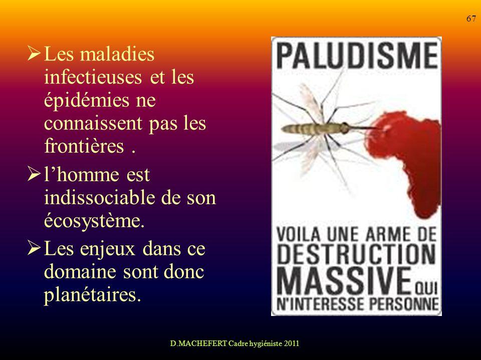 D.MACHEFERT Cadre hygiéniste 2011 67 Les maladies infectieuses et les épidémies ne connaissent pas les frontières. lhomme est indissociable de son éco