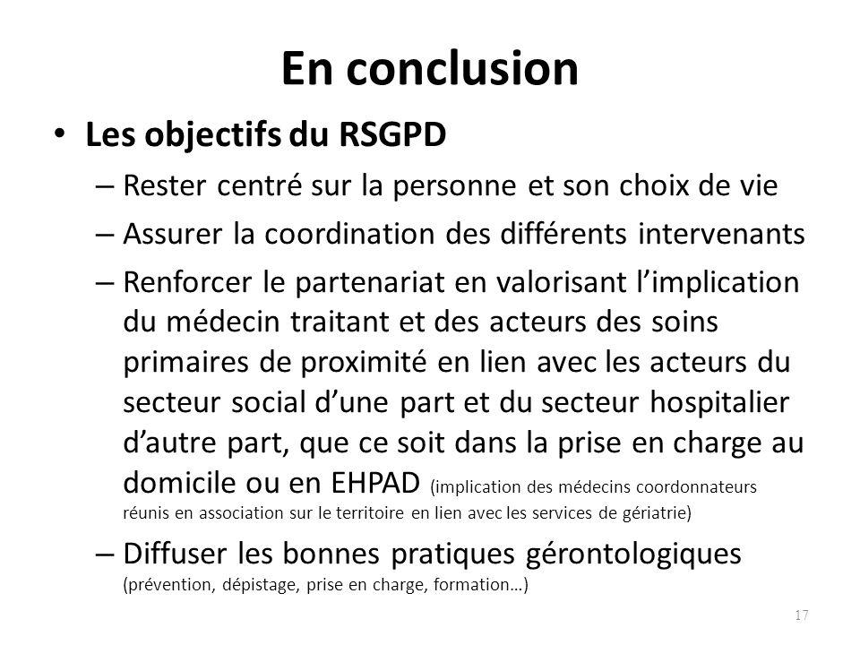 En conclusion Les objectifs du RSGPD – Rester centré sur la personne et son choix de vie – Assurer la coordination des différents intervenants – Renfo