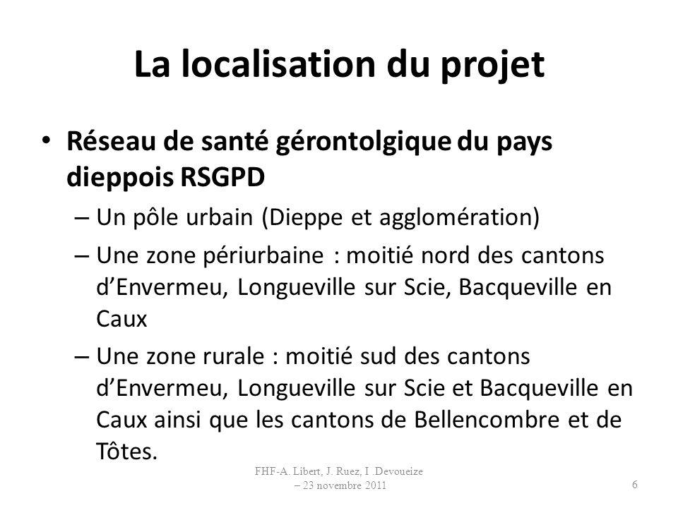 La localisation du projet Réseau de santé gérontolgique du pays dieppois RSGPD – Un pôle urbain (Dieppe et agglomération) – Une zone périurbaine : moi