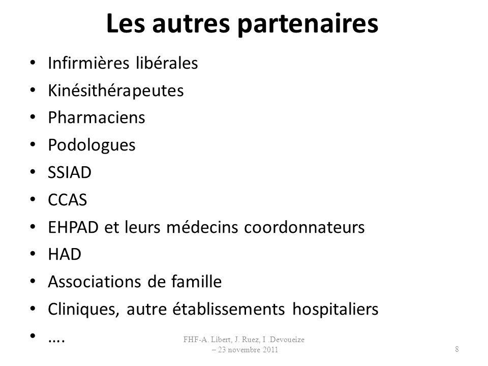 Les autres partenaires Infirmières libérales Kinésithérapeutes Pharmaciens Podologues SSIAD CCAS EHPAD et leurs médecins coordonnateurs HAD Associatio