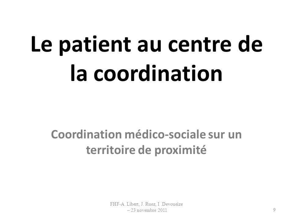 Le patient au centre de la coordination Coordination médico-sociale sur un territoire de proximité 9 FHF-A. Libert, J. Ruez, I.Devoueize – 23 novembre