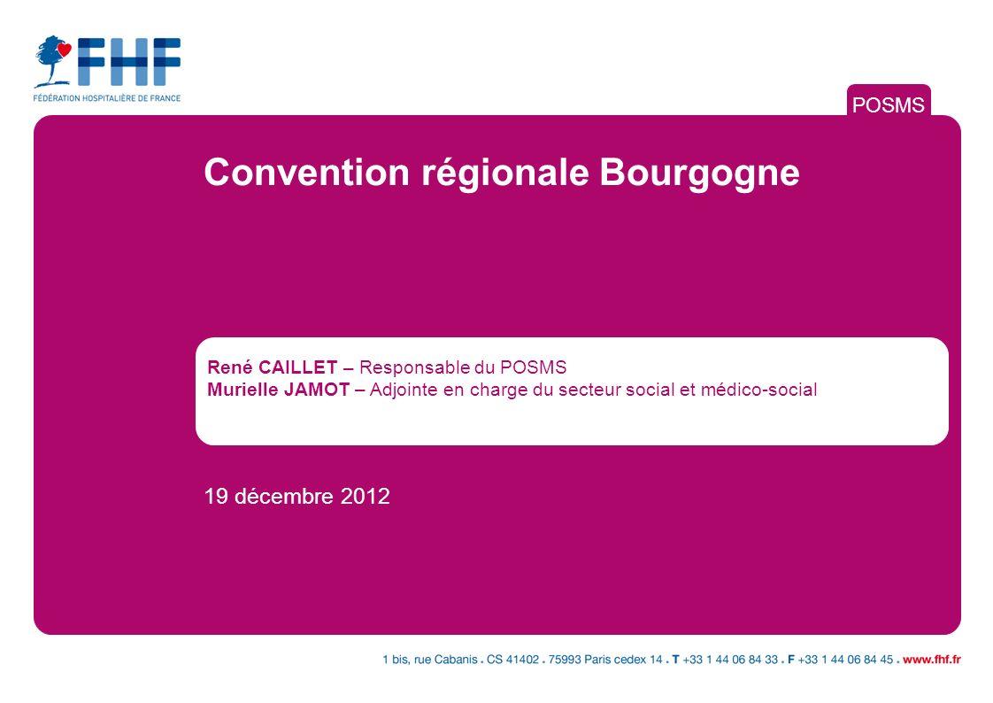 René CAILLET – Responsable du POSMS Murielle JAMOT – Adjointe en charge du secteur social et médico-social 19 décembre 2012 POSMS Convention régionale Bourgogne