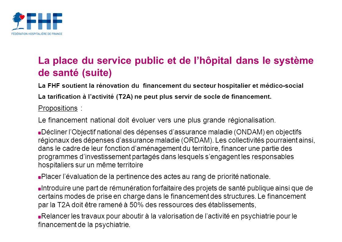 La place du service public et de lhôpital dans le système de santé (suite) La FHF soutient la rénovation du financement du secteur hospitalier et médico-social La tarification à lactivité (T2A) ne peut plus servir de socle de financement.