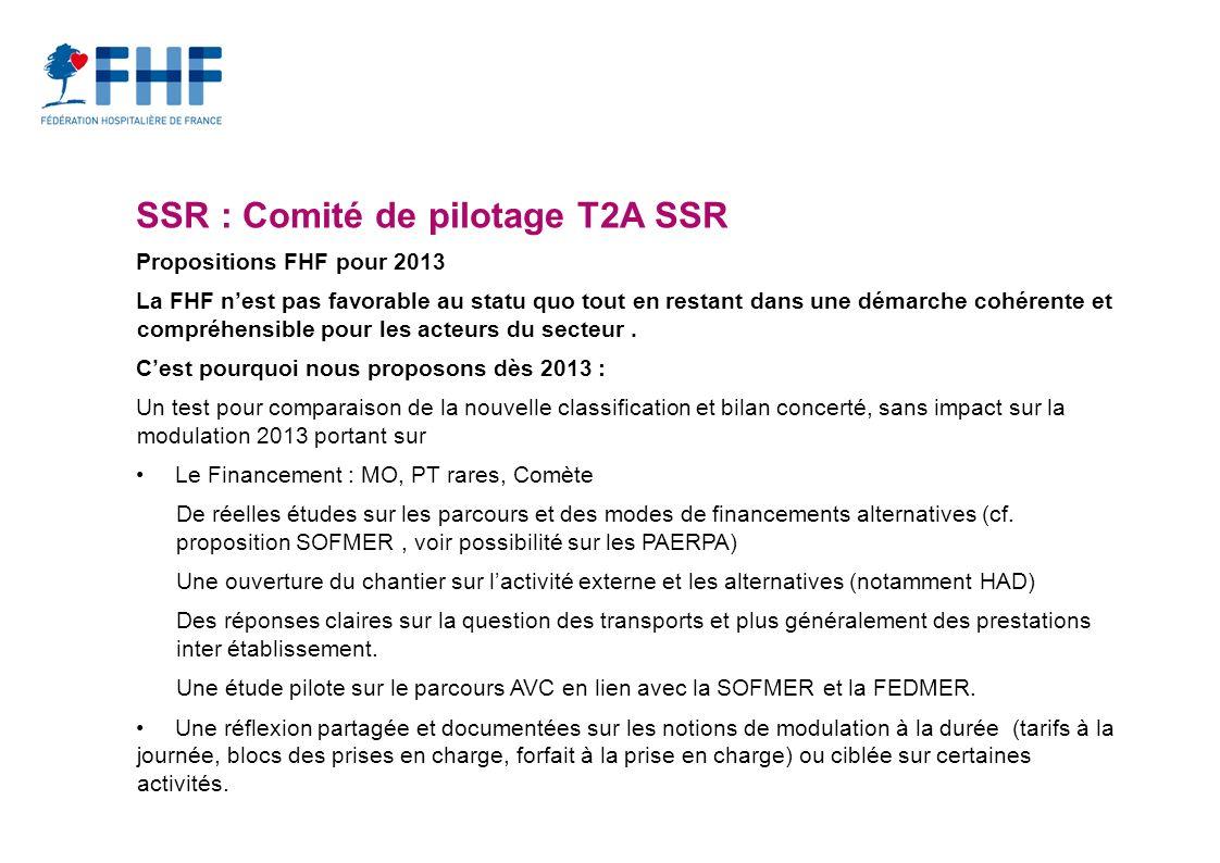 SSR : Comité de pilotage T2A SSR Propositions FHF pour 2013 La FHF nest pas favorable au statu quo tout en restant dans une démarche cohérente et compréhensible pour les acteurs du secteur.