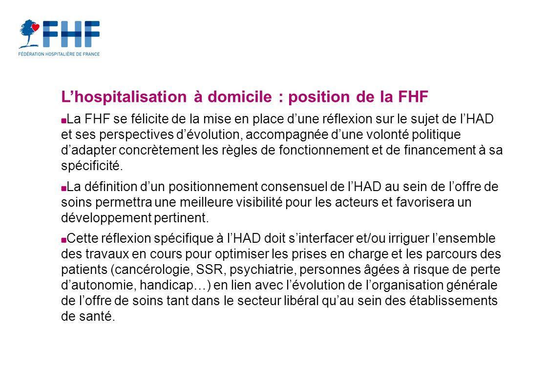 Lhospitalisation à domicile : position de la FHF La FHF se félicite de la mise en place dune réflexion sur le sujet de lHAD et ses perspectives dévolution, accompagnée dune volonté politique dadapter concrètement les règles de fonctionnement et de financement à sa spécificité.