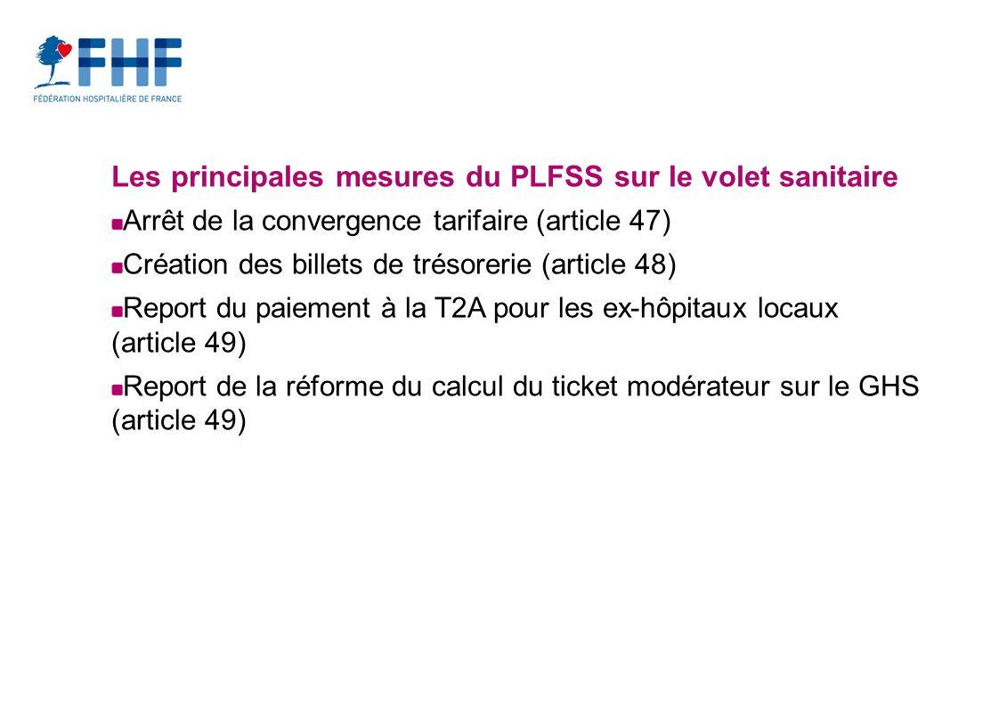 Les principales mesures du PLFSS sur le volet sanitaire Arrêt de la convergence tarifaire (article 47) Création des billets de trésorerie (article 48) Report du paiement à la T2A pour les ex-hôpitaux locaux (article 49) Report de la réforme du calcul du ticket modérateur sur le GHS (article 49)