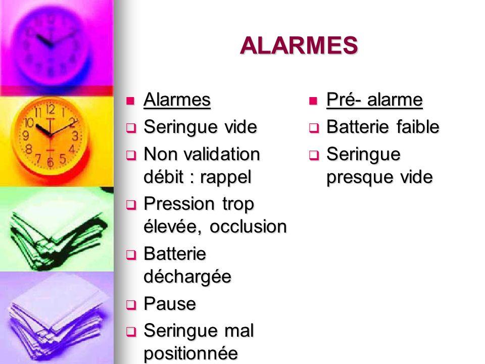 ALARMES Alarmes Alarmes Seringue vide Seringue vide Non validation débit : rappel Non validation débit : rappel Pression trop élevée, occlusion Pressi