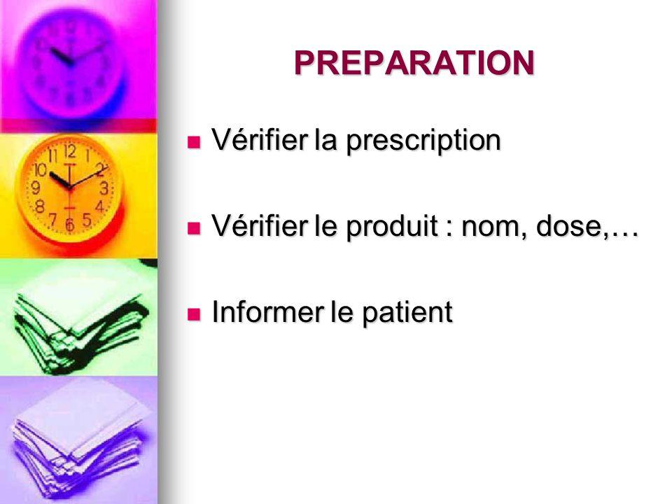 PREPARATION Vérifier la prescription Vérifier la prescription Vérifier le produit : nom, dose,… Vérifier le produit : nom, dose,… Informer le patient