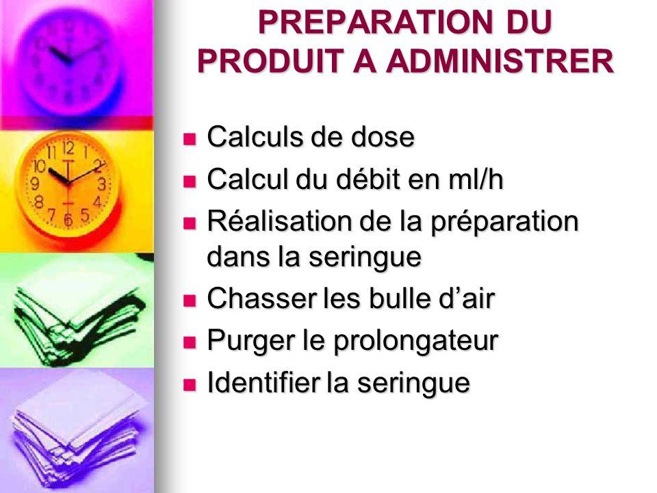 PREPARATION DU PRODUIT A ADMINISTRER Calculs de dose Calculs de dose Calcul du débit en ml/h Calcul du débit en ml/h Réalisation de la préparation dan