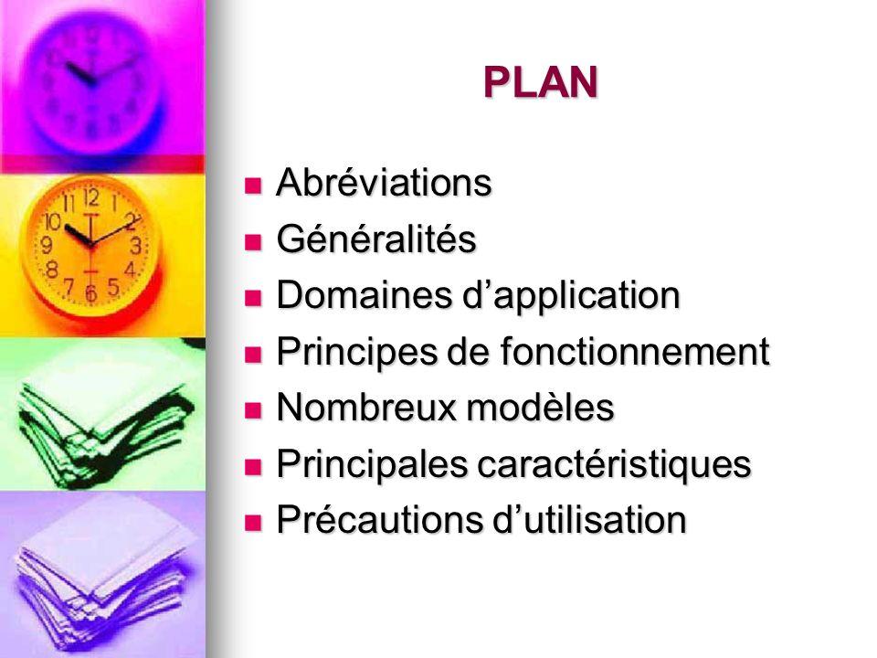 PLAN Abréviations Abréviations Généralités Généralités Domaines dapplication Domaines dapplication Principes de fonctionnement Principes de fonctionne