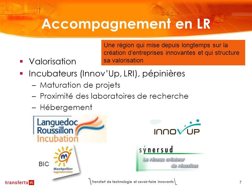 Transfert de technologie et savoir-faire innovants 7 Accompagnement en LR Valorisation Incubateurs (InnovUp, LRI), pépinières –Maturation de projets –