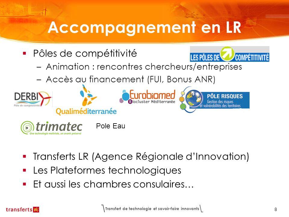 Transfert de technologie et savoir-faire innovants 8 Accompagnement en LR Pôles de compétitivité –Animation : rencontres chercheurs/entreprises –Accès