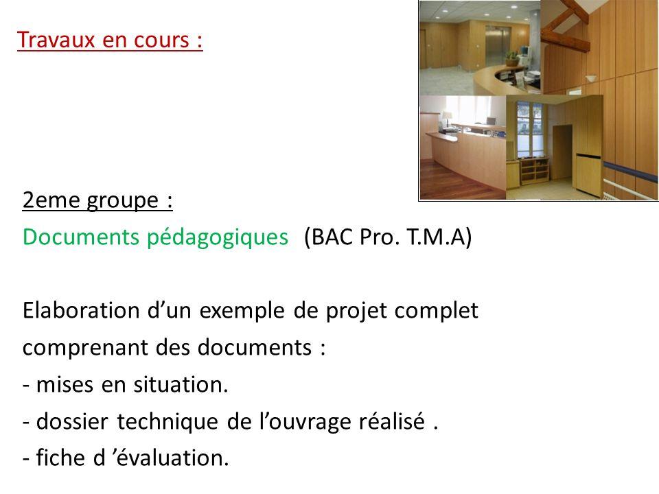 Travaux en cours : 2eme groupe : Documents pédagogiques (BAC Pro. T.M.A) Elaboration dun exemple de projet complet comprenant des documents : - mises