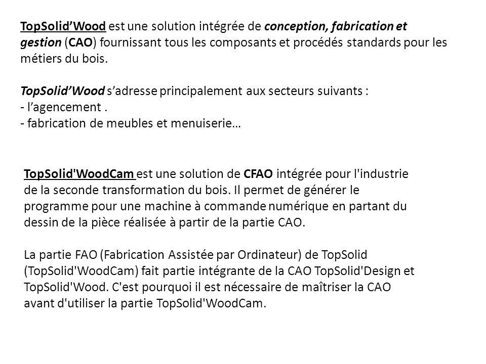 TopSolidWood est une solution intégrée de conception, fabrication et gestion (CAO) fournissant tous les composants et procédés standards pour les méti