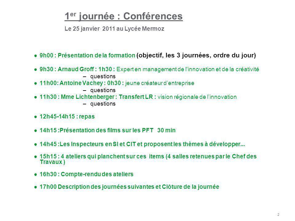 2 9h00 : Présentation de la formation (objectif, les 3 journées, ordre du jour) 9h30 : Arnaud Groff : 1h30 : Expert en management de l'innovation et d