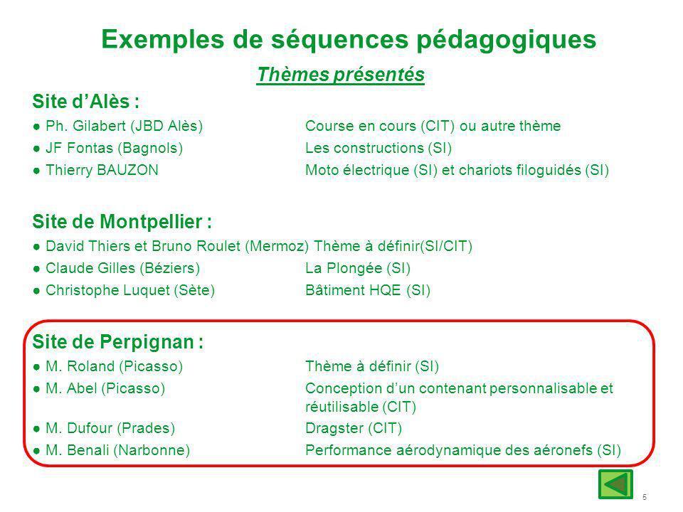 5 Exemples de séquences pédagogiques Thèmes présentés Site dAlès : Ph. Gilabert (JBD Alès) Course en cours (CIT) ou autre thème JF Fontas (Bagnols) Le