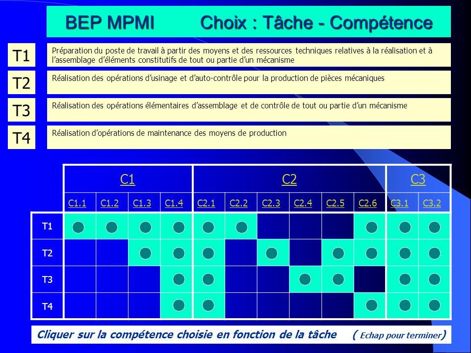 BEP MPMI Choix : Tâche - Compétence T1 Préparation du poste de travail à partir des moyens et des ressources techniques relatives à la réalisation et
