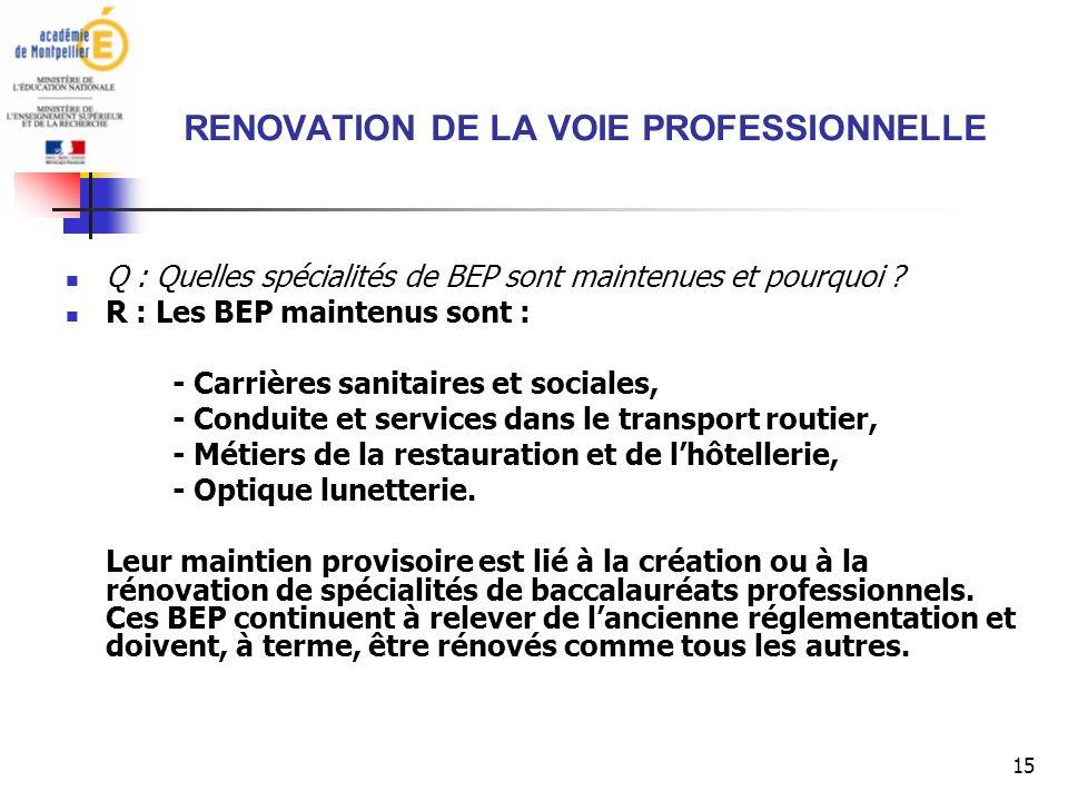 15 RENOVATION DE LA VOIE PROFESSIONNELLE Q : Quelles spécialités de BEP sont maintenues et pourquoi .