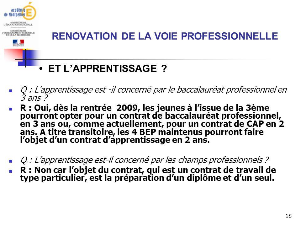18 RENOVATION DE LA VOIE PROFESSIONNELLE ET LAPPRENTISSAGE .