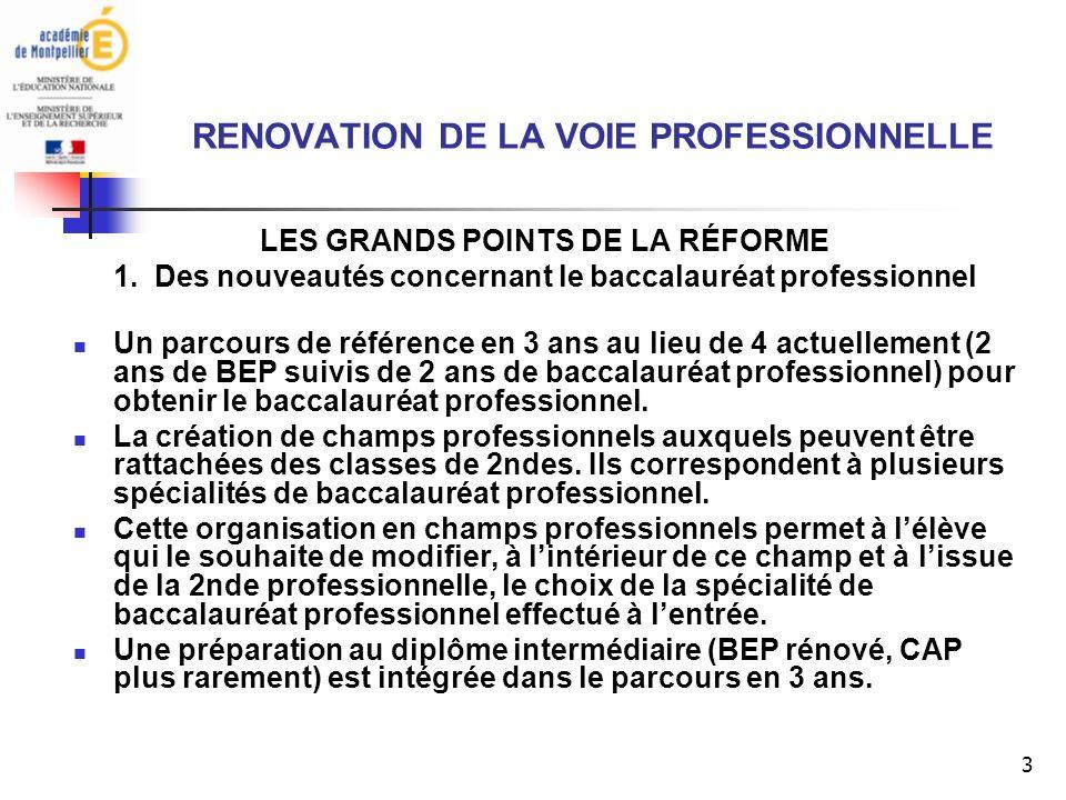 3 RENOVATION DE LA VOIE PROFESSIONNELLE LES GRANDS POINTS DE LA RÉFORME 1.