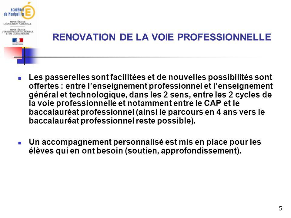 16 RENOVATION DE LA VOIE PROFESSIONNELLE Le CAP Q : Que devient le cycle de 2 ans conduisant au CAP .