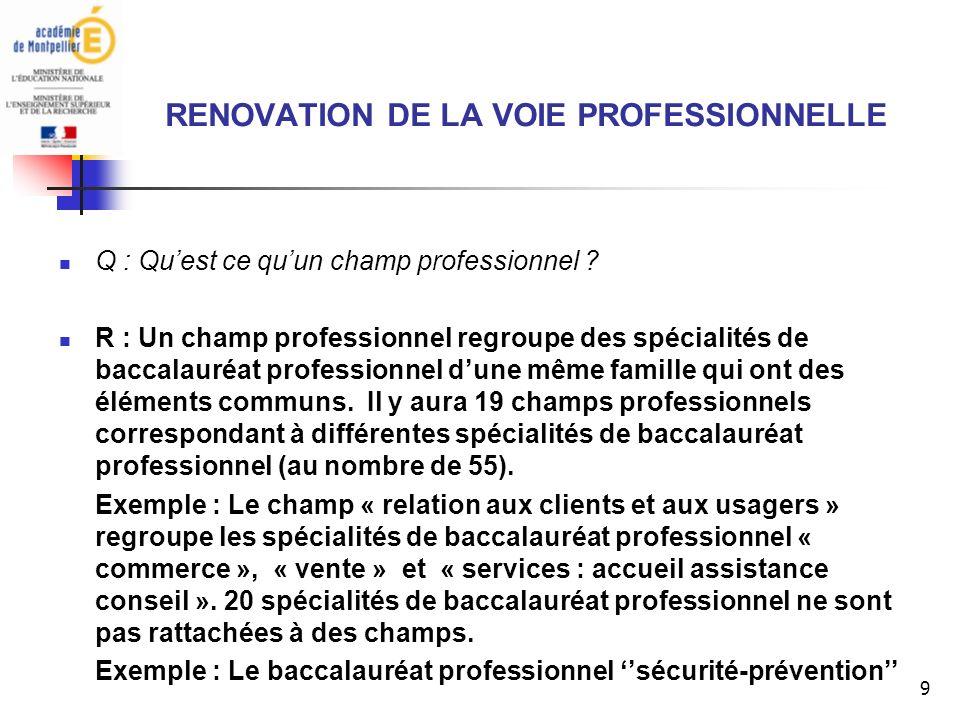 9 RENOVATION DE LA VOIE PROFESSIONNELLE Q : Quest ce quun champ professionnel .
