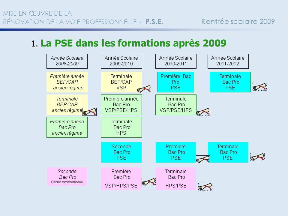 1. La PSE dans les formations après 2009 Année Scolaire 2008-2009 Année Scolaire 2009-2010 Première année BEP/CAP ancien régime Première Bac Pro PSE T