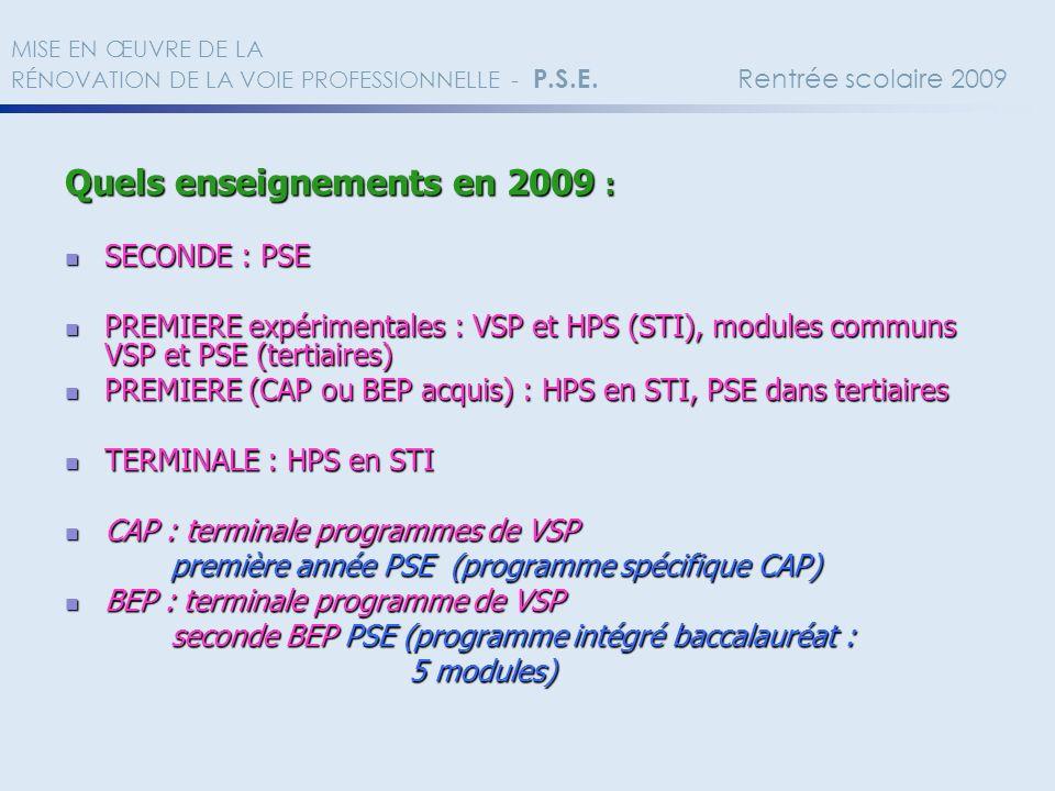 Quels enseignements en 2009 : SECONDE : PSE SECONDE : PSE PREMIERE expérimentales : VSP et HPS (STI), modules communs VSP et PSE (tertiaires) PREMIERE