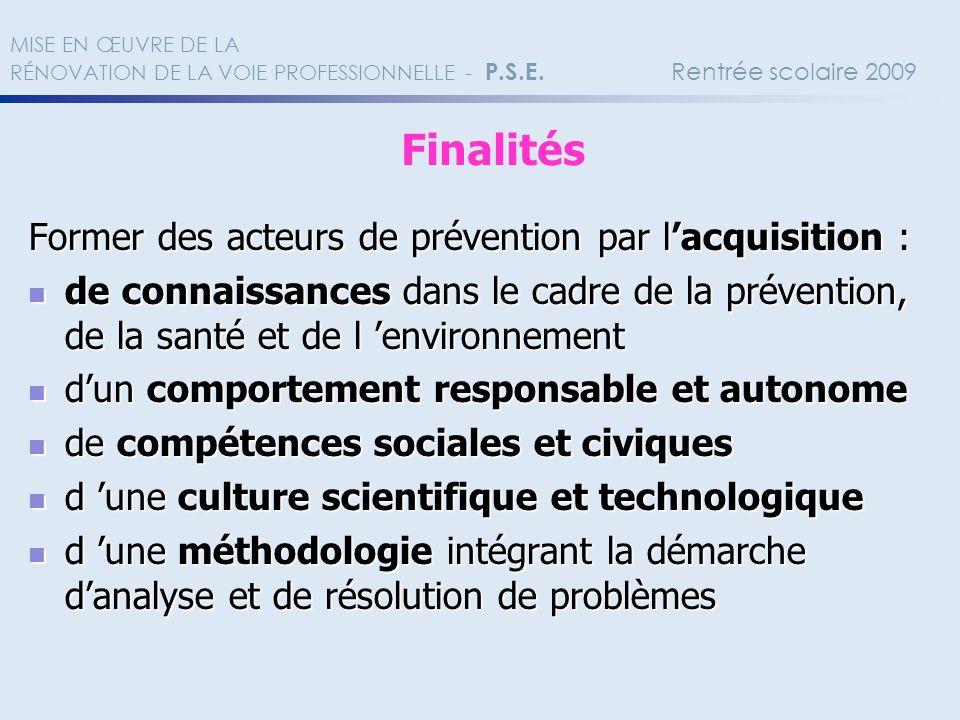 Former des acteurs de prévention par lacquisition : de connaissances dans le cadre de la prévention, de la santé et de l environnement de connaissance