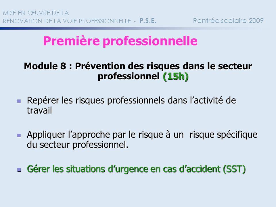 Module 8 : Prévention des risques dans le secteur professionnel (15h) Repérer les risques professionnels dans lactivité de travail Repérer les risques
