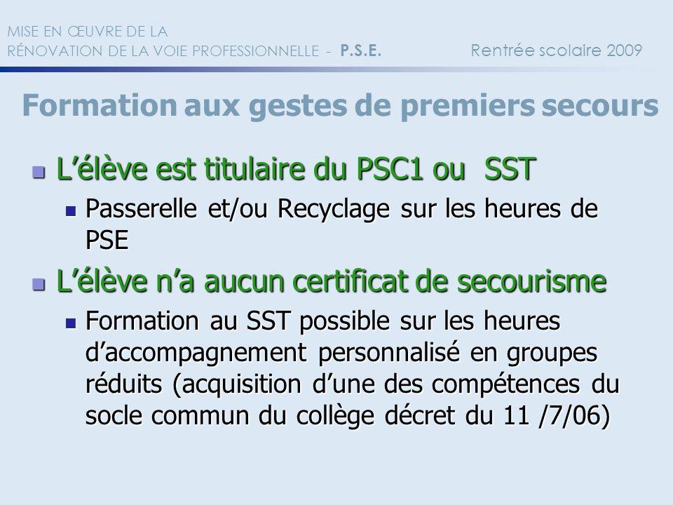 Lélève est titulaire du PSC1 ou SST Lélève est titulaire du PSC1 ou SST Passerelle et/ou Recyclage sur les heures de PSE Passerelle et/ou Recyclage su