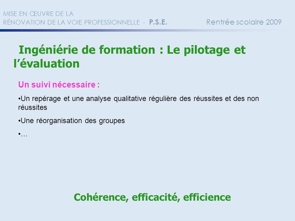 Ingéniérie de formation : Le pilotage et lévaluation Un suivi nécessaire : Un repérage et une analyse qualitative régulière des réussites et des non r