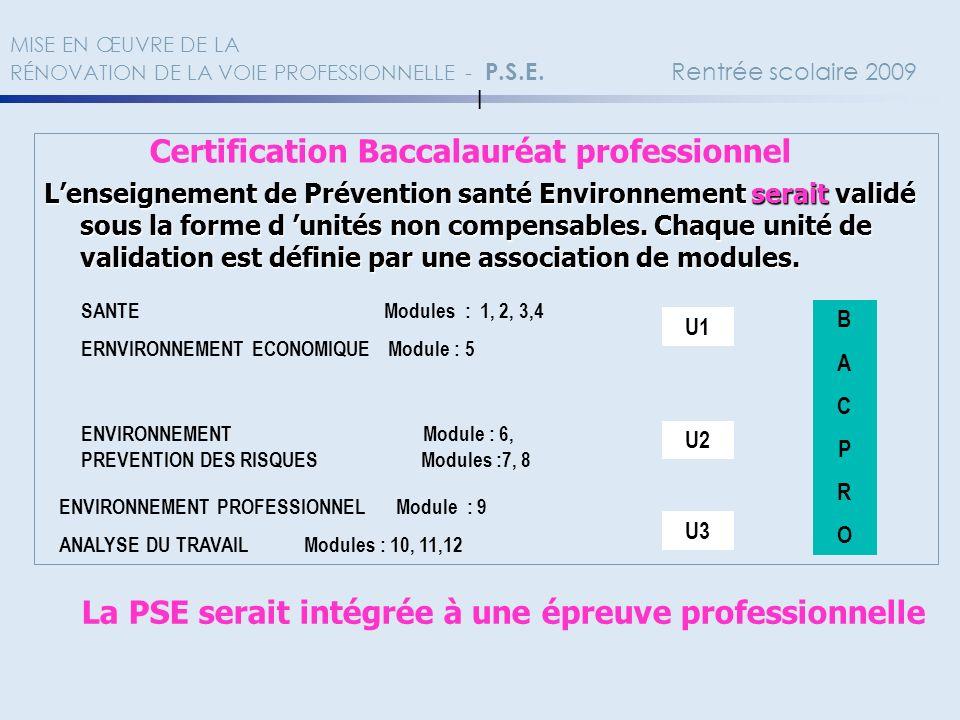 MISE EN ŒUVRE DE LA RÉNOVATION DE LA VOIE PROFESSIONNELLE - P.S.E. Rentrée scolaire 2009 l Certification Baccalauréat professionnel Lenseignement de P