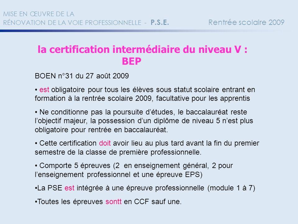 la certification intermédiaire du niveau V : BEP BOEN n°31 du 27 août 2009 est obligatoire pour tous les élèves sous statut scolaire entrant en format