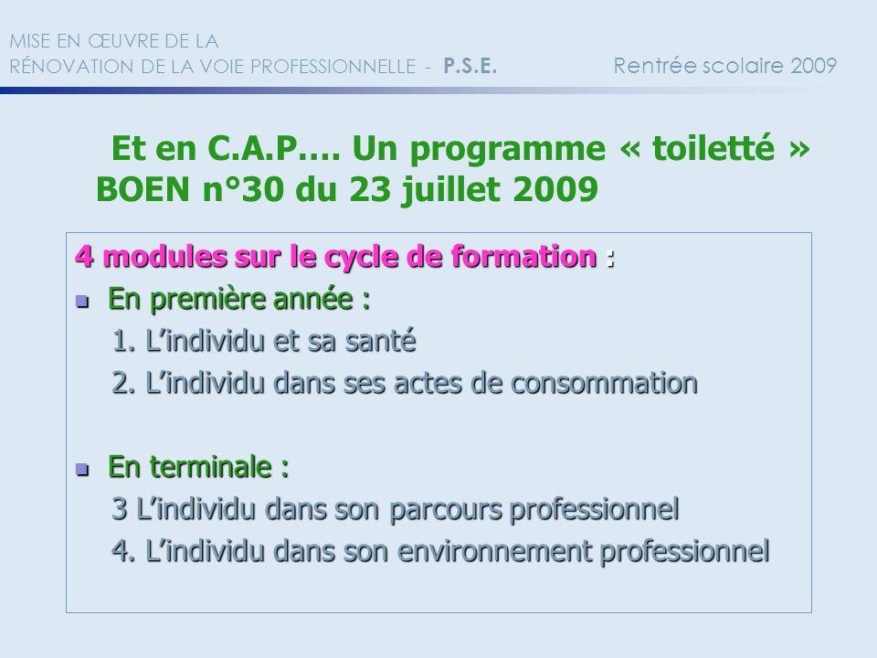 Et en C.A.P…. Un programme « toiletté » BOEN n°30 du 23 juillet 2009 MISE EN ŒUVRE DE LA RÉNOVATION DE LA VOIE PROFESSIONNELLE - P.S.E. Rentrée scolai